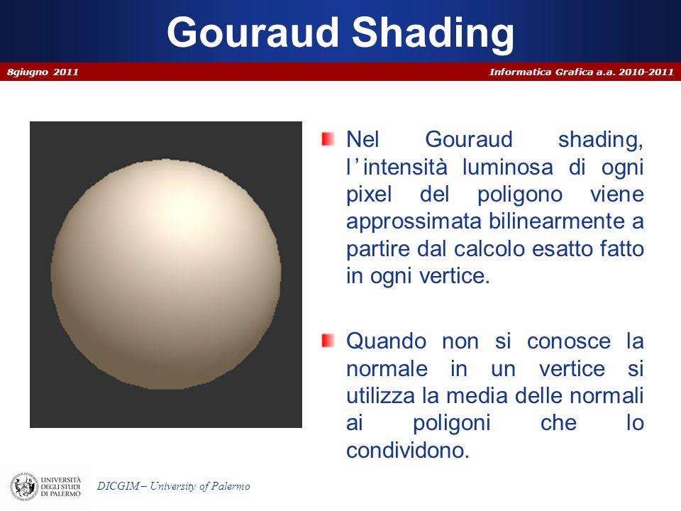 Informatica Grafica a.a. 2010-2011 DICGIM – University of Palermo Gouraud Shading Nel Gouraud shading, l intensità luminosa di ogni pixel del poligono