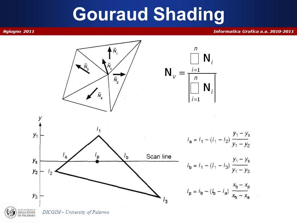 Informatica Grafica a.a. 2010-2011 DICGIM – University of Palermo Gouraud Shading 8giugno 2011