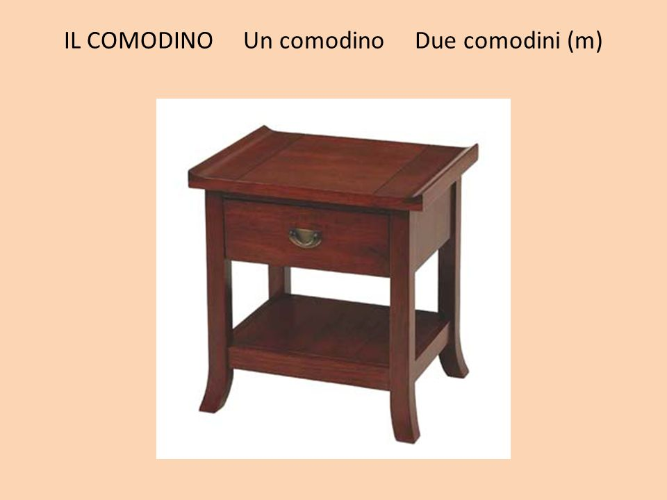 IL COMODINO Un comodino Due comodini (m)