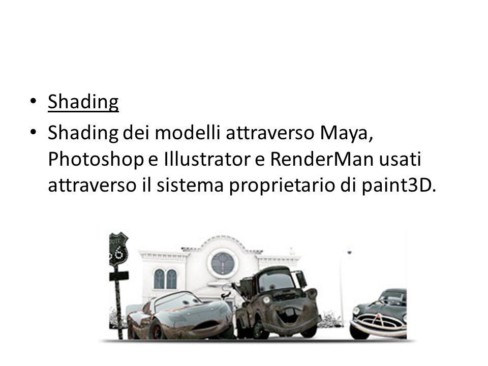 Shading Shading dei modelli attraverso Maya, Photoshop e Illustrator e RenderMan usati attraverso il sistema proprietario di paint3D.