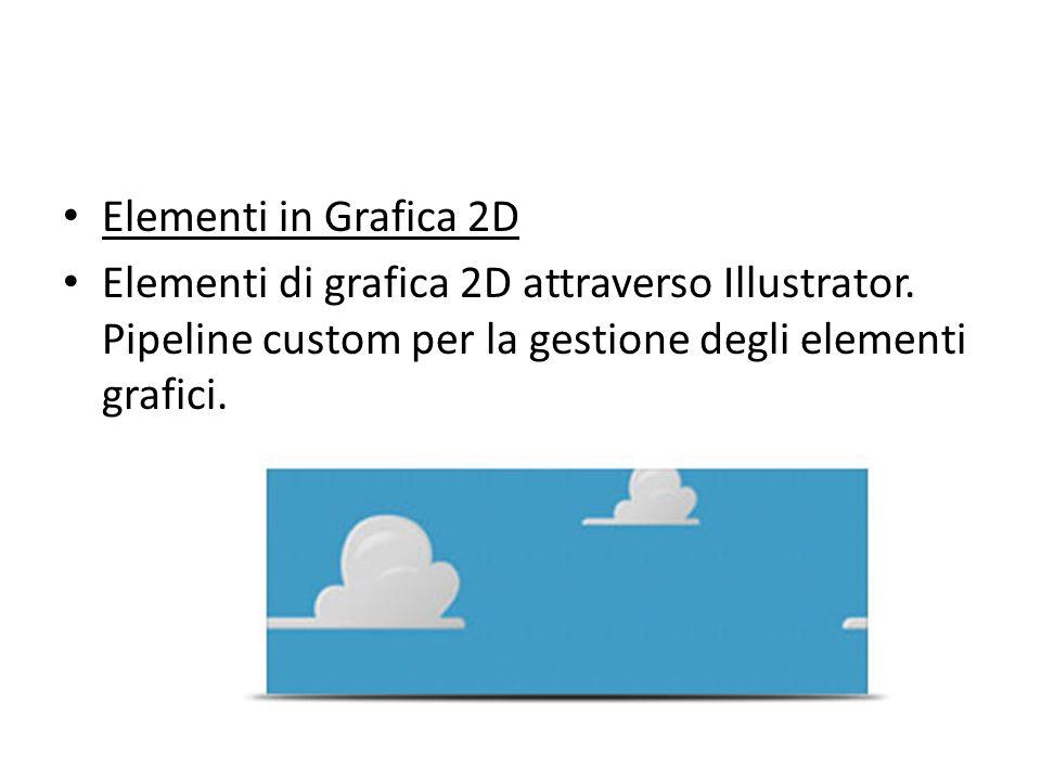 Elementi in Grafica 2D Elementi di grafica 2D attraverso Illustrator. Pipeline custom per la gestione degli elementi grafici.