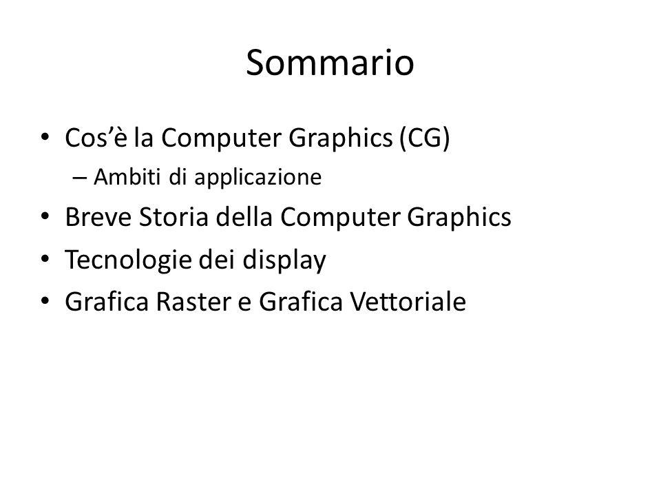 Sommario Cosè la Computer Graphics (CG) – Ambiti di applicazione Breve Storia della Computer Graphics Tecnologie dei display Grafica Raster e Grafica