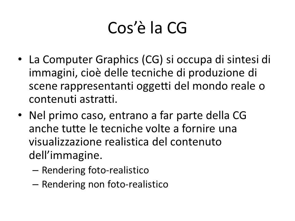 Cosè la CG La Computer Graphics (CG) si occupa di sintesi di immagini, cioè delle tecniche di produzione di scene rappresentanti oggetti del mondo rea