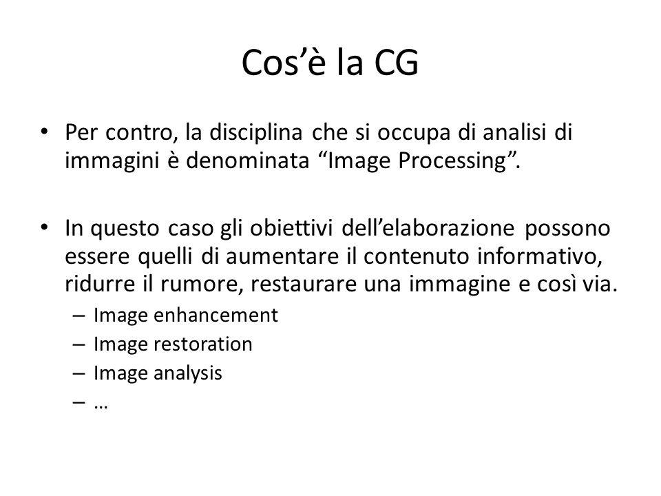 Cosè la CG In ogni caso in Image Processing si assume di partire da unimmagine digitale già acquisita e la si elabora, mentre in CG limmagine digitale è lobiettivo ultimo dellelaborazione.