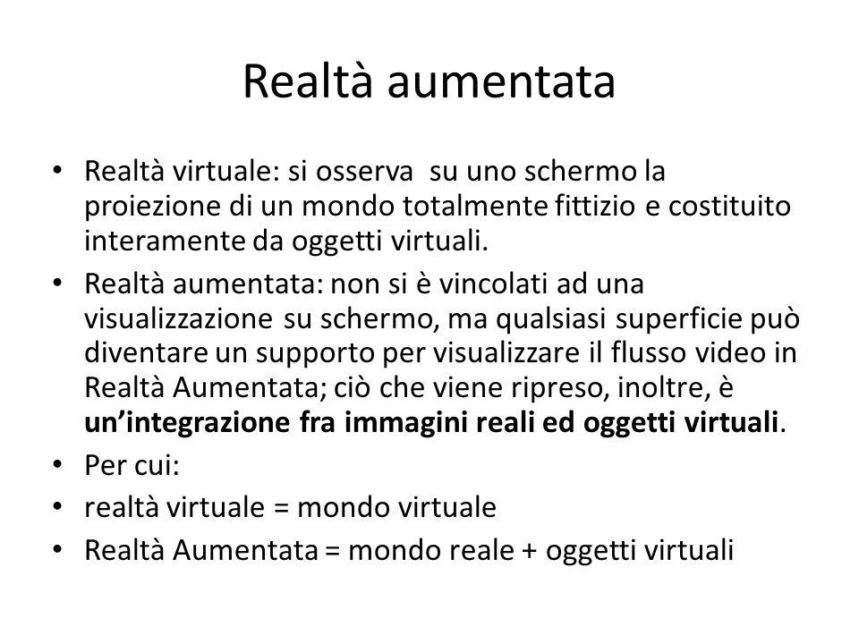 Realtà aumentata Realtà virtuale: si osserva su uno schermo la proiezione di un mondo totalmente fittizio e costituito interamente da oggetti virtuali