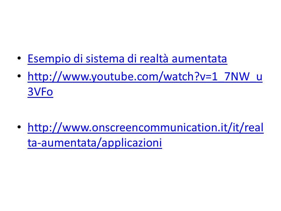 Esempio di sistema di realtà aumentata http://www.youtube.com/watch?v=1_7NW_u 3VFo http://www.youtube.com/watch?v=1_7NW_u 3VFo http://www.onscreencomm