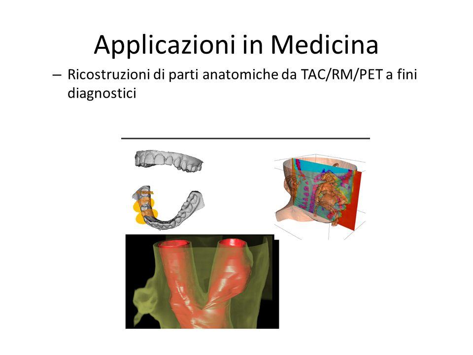 Applicazioni in Medicina – Ricostruzioni di parti anatomiche da TAC/RM/PET a fini diagnostici