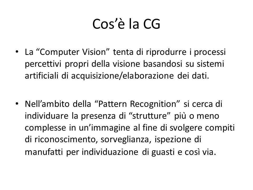 Cosè la CG La Computer Vision tenta di riprodurre i processi percettivi propri della visione basandosi su sistemi artificiali di acquisizione/elaboraz