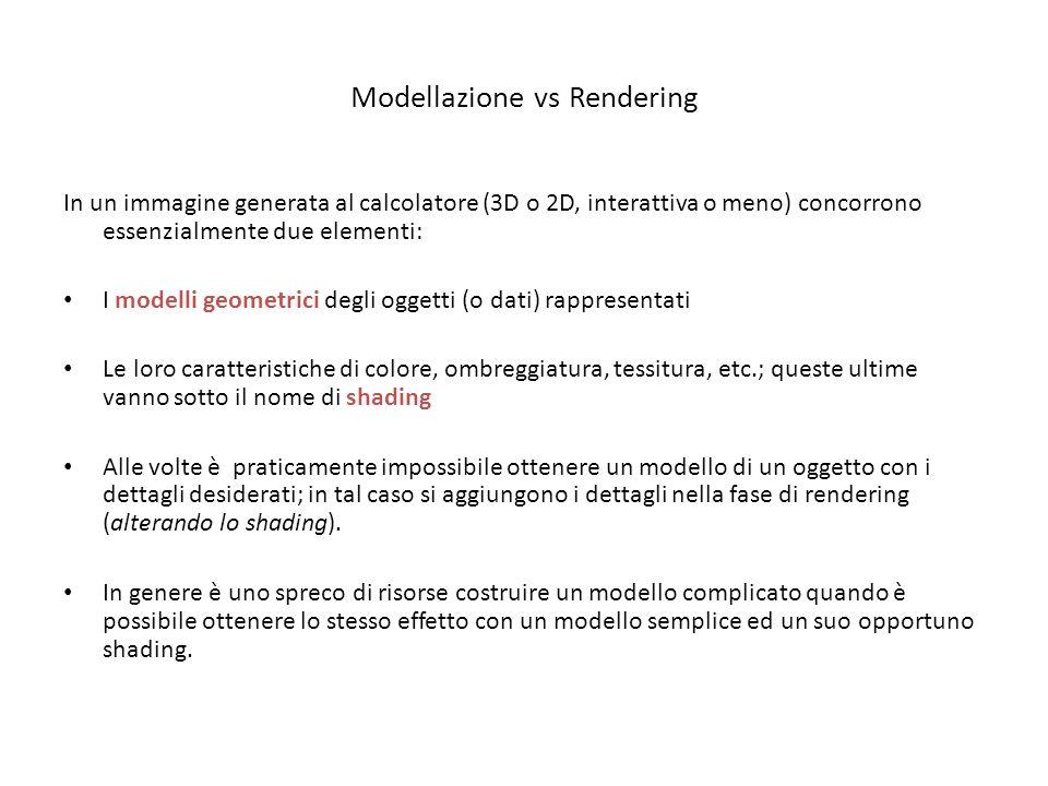 Modellazione vs Rendering In un immagine generata al calcolatore (3D o 2D, interattiva o meno) concorrono essenzialmente due elementi: I modelli geome