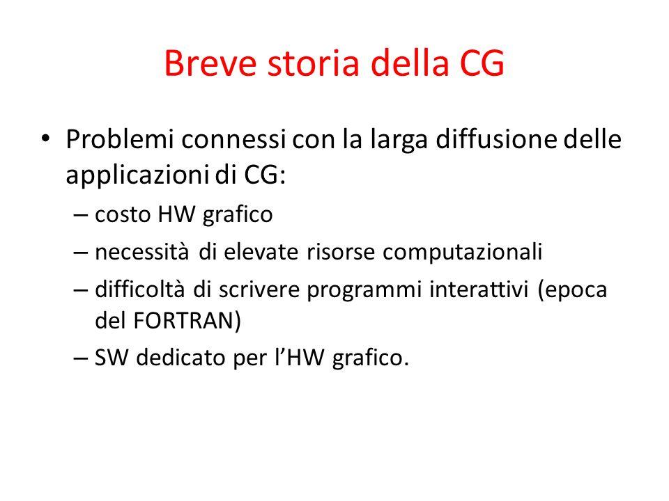 Breve storia della CG Problemi connessi con la larga diffusione delle applicazioni di CG: – costo HW grafico – necessità di elevate risorse computazio