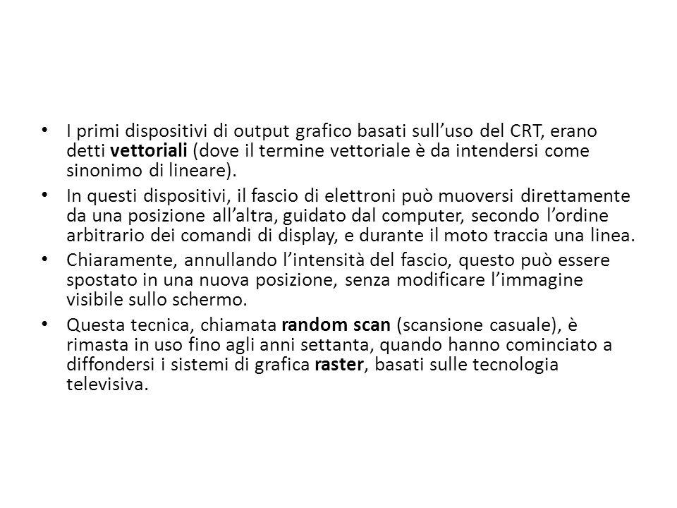 I primi dispositivi di output grafico basati sulluso del CRT, erano detti vettoriali (dove il termine vettoriale è da intendersi come sinonimo di line