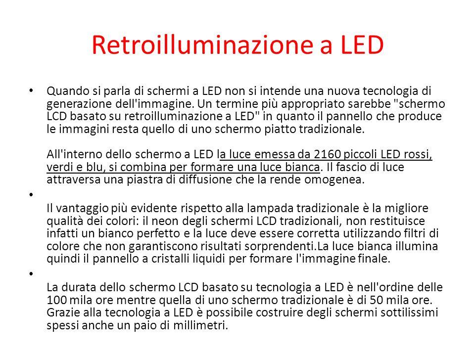 Retroilluminazione a LED Quando si parla di schermi a LED non si intende una nuova tecnologia di generazione dell'immagine. Un termine più appropriato