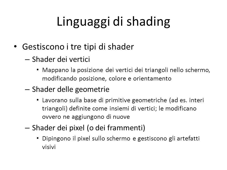 Linguaggi di shading Gestiscono i tre tipi di shader – Shader dei vertici Mappano la posizione dei vertici dei triangoli nello schermo, modificando po