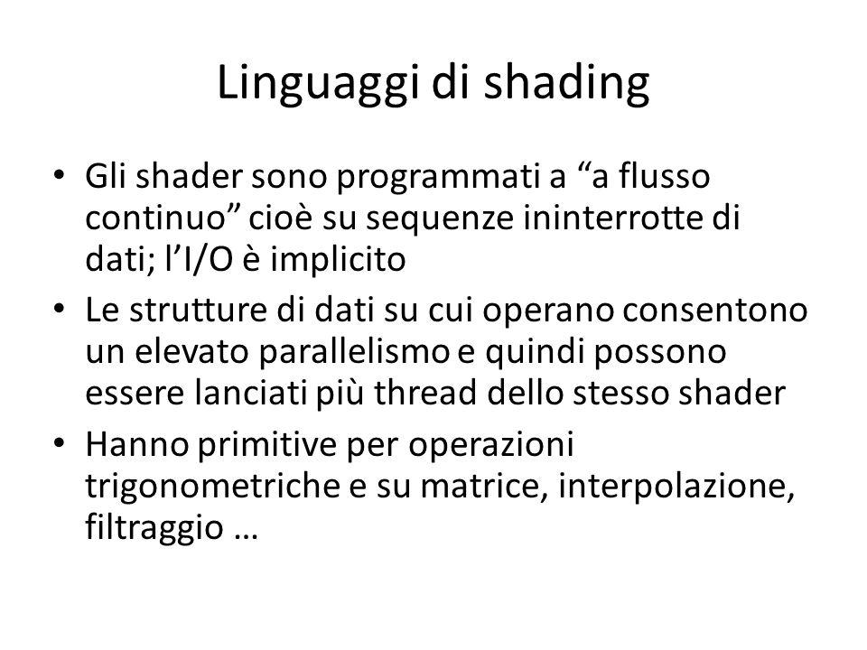 Linguaggi di shading Gli shader sono programmati a a flusso continuo cioè su sequenze ininterrotte di dati; lI/O è implicito Le strutture di dati su c