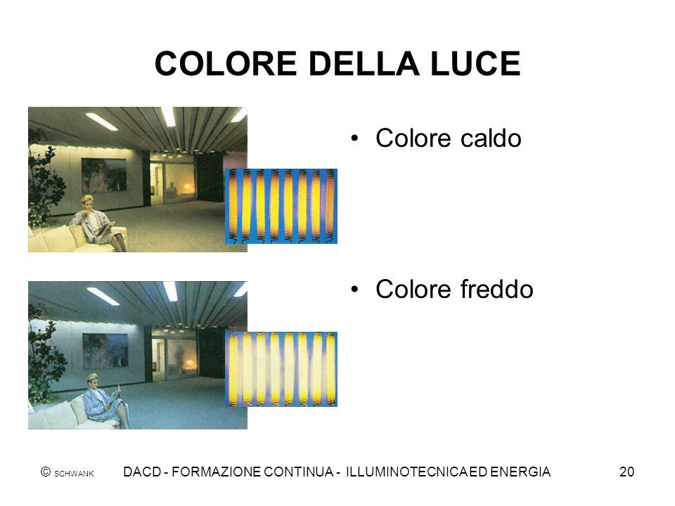© SCHWANK DACD - FORMAZIONE CONTINUA - ILLUMINOTECNICA ED ENERGIA20 COLORE DELLA LUCE Colore caldo Colore freddo