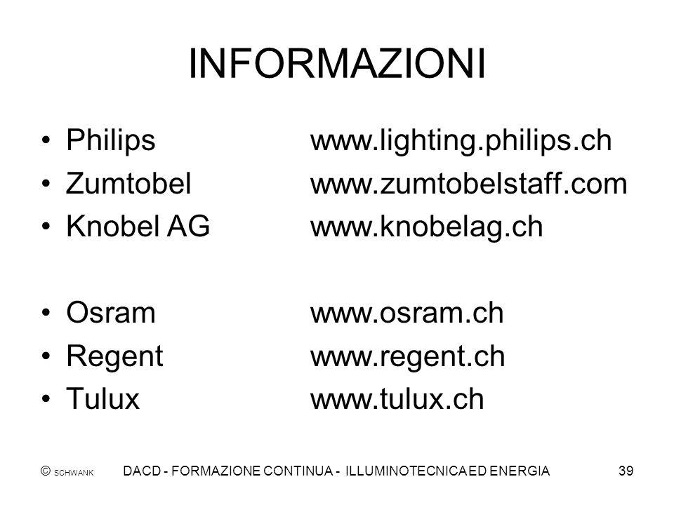 © SCHWANK DACD - FORMAZIONE CONTINUA - ILLUMINOTECNICA ED ENERGIA39 INFORMAZIONI Philipswww.lighting.philips.ch Zumtobelwww.zumtobelstaff.com Knobel A