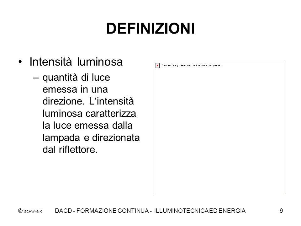 © SCHWANK DACD - FORMAZIONE CONTINUA - ILLUMINOTECNICA ED ENERGIA9 DEFINIZIONI Intensità luminosa –quantità di luce emessa in una direzione. Lintensit