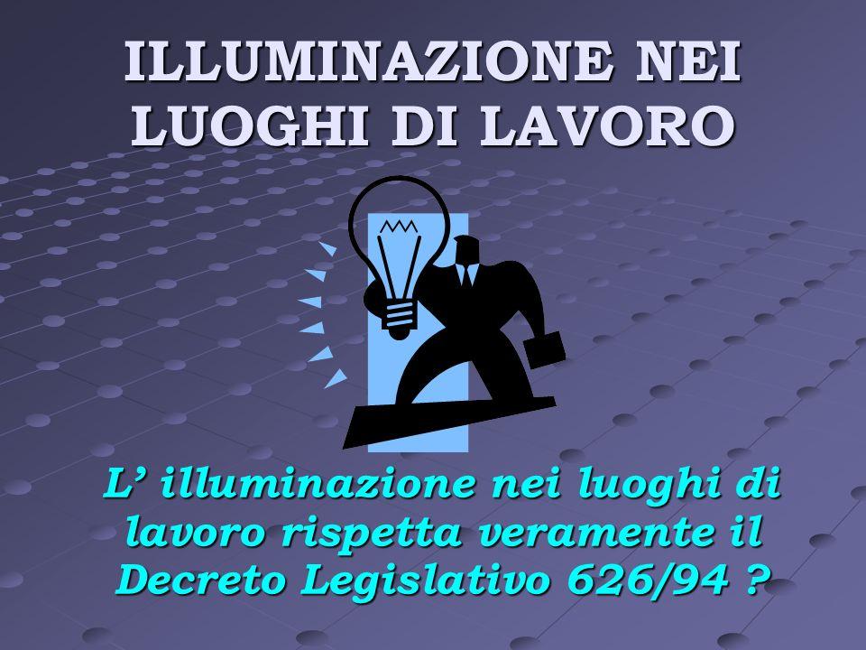 ILLUMINAZIONE NEI LUOGHI DI LAVORO L illuminazione nei luoghi di lavoro rispetta veramente il Decreto Legislativo 626/94 ?