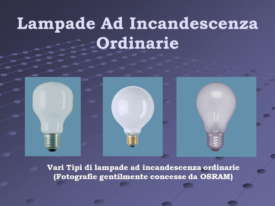 Lampade Ad Incandescenza Ordinarie Vari Tipi di lampade ad incandescenza ordinarie (Fotografie gentilmente concesse da OSRAM)