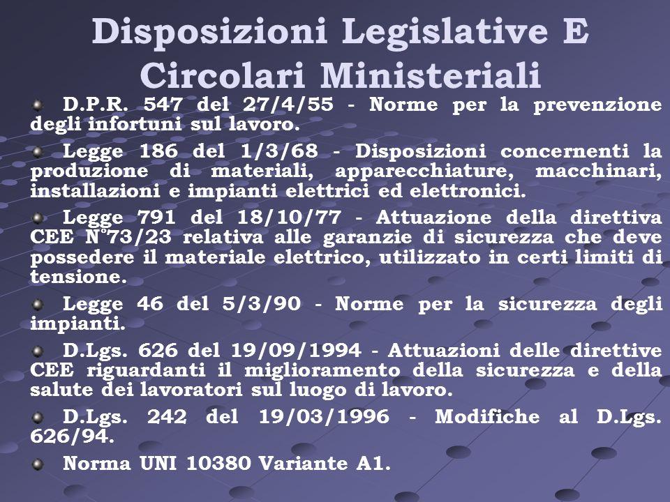 Disposizioni Legislative E Circolari Ministeriali D.P.R. 547 del 27/4/55 - Norme per la prevenzione degli infortuni sul lavoro. Legge 186 del 1/3/68 -