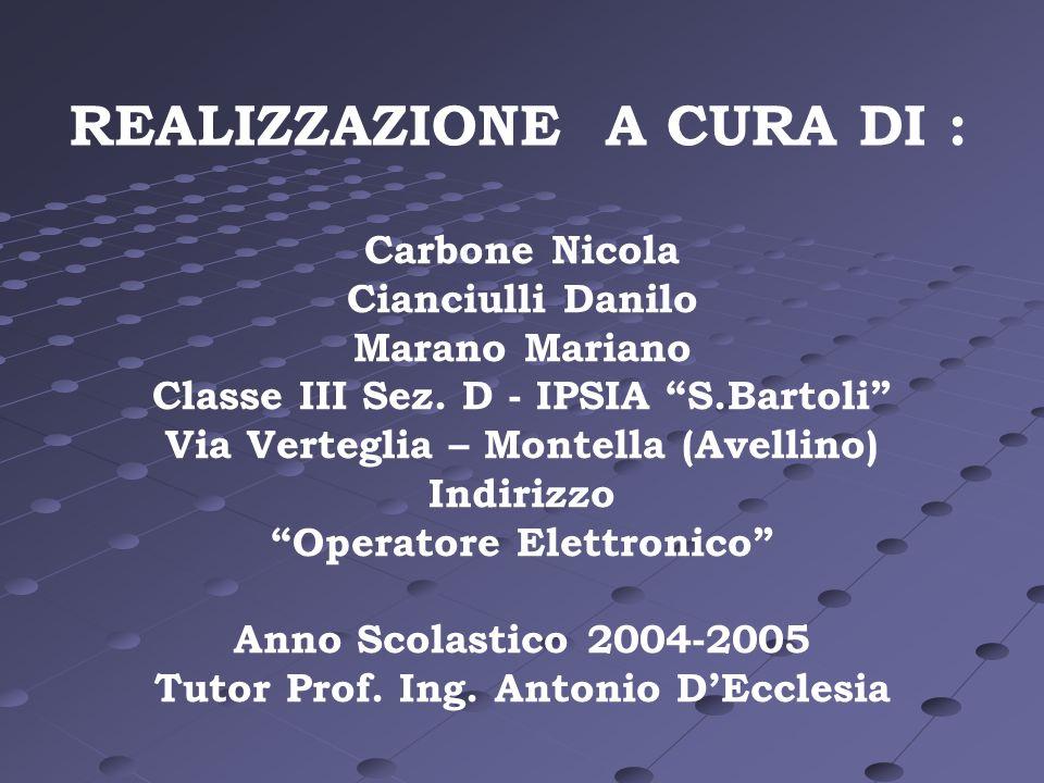 REALIZZAZIONE A CURA DI : Carbone Nicola Cianciulli Danilo Marano Mariano Classe III Sez. D - IPSIA S.Bartoli Via Verteglia – Montella (Avellino) Indi