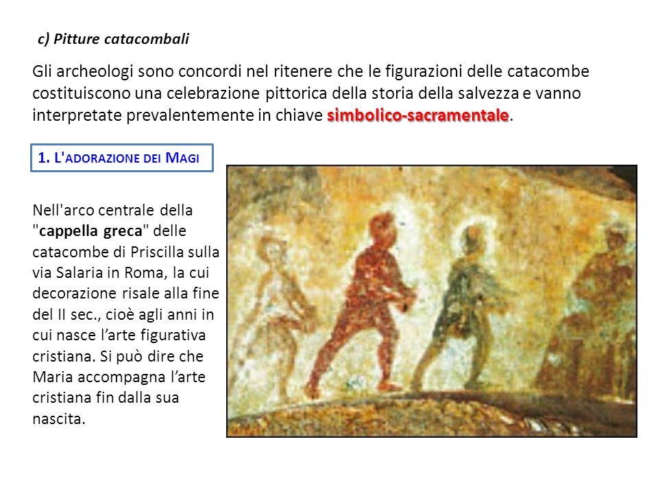 c) Pitture catacombali simbolico-sacramentale Gli archeologi sono concordi nel ritenere che le figurazioni delle catacombe costituiscono una celebrazi
