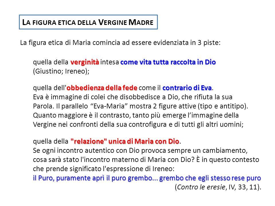 L A FIGURA ETICA DELLA V ERGINE M ADRE La figura etica di Maria comincia ad essere evidenziata in 3 piste: verginitàcome vita tutta raccolta in Dio qu