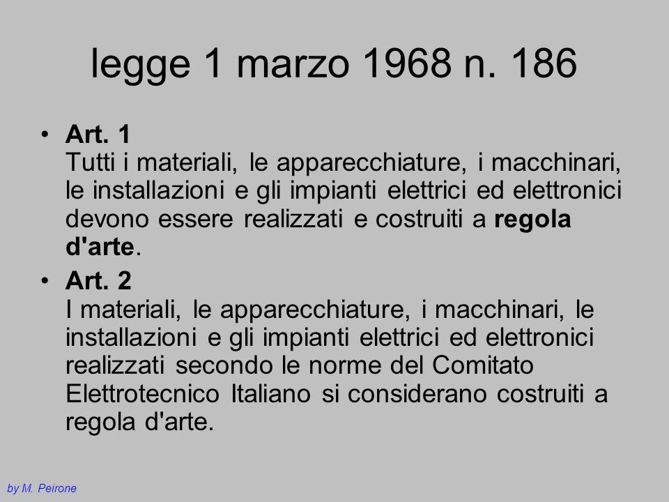 legge 1 marzo 1968 n. 186 Art. 1 Tutti i materiali, le apparecchiature, i macchinari, le installazioni e gli impianti elettrici ed elettronici devono