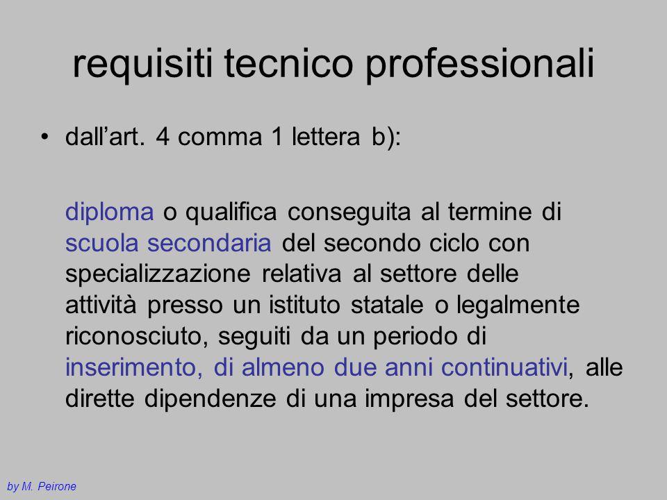 requisiti tecnico professionali dallart. 4 comma 1 lettera b): diploma o qualifica conseguita al termine di scuola secondaria del secondo ciclo con sp