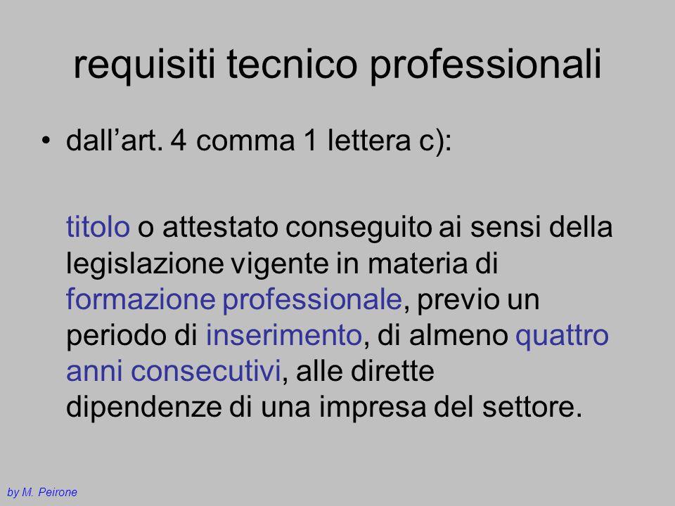 requisiti tecnico professionali dallart. 4 comma 1 lettera c): titolo o attestato conseguito ai sensi della legislazione vigente in materia di formazi