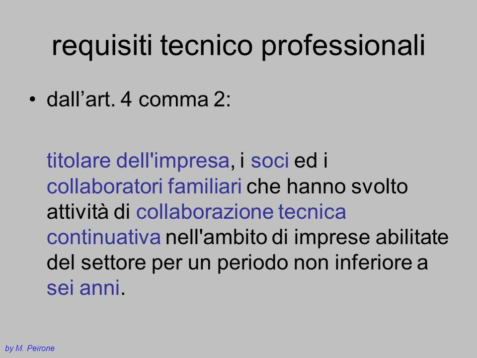 requisiti tecnico professionali dallart. 4 comma 2: titolare dell'impresa, i soci ed i collaboratori familiari che hanno svolto attività di collaboraz