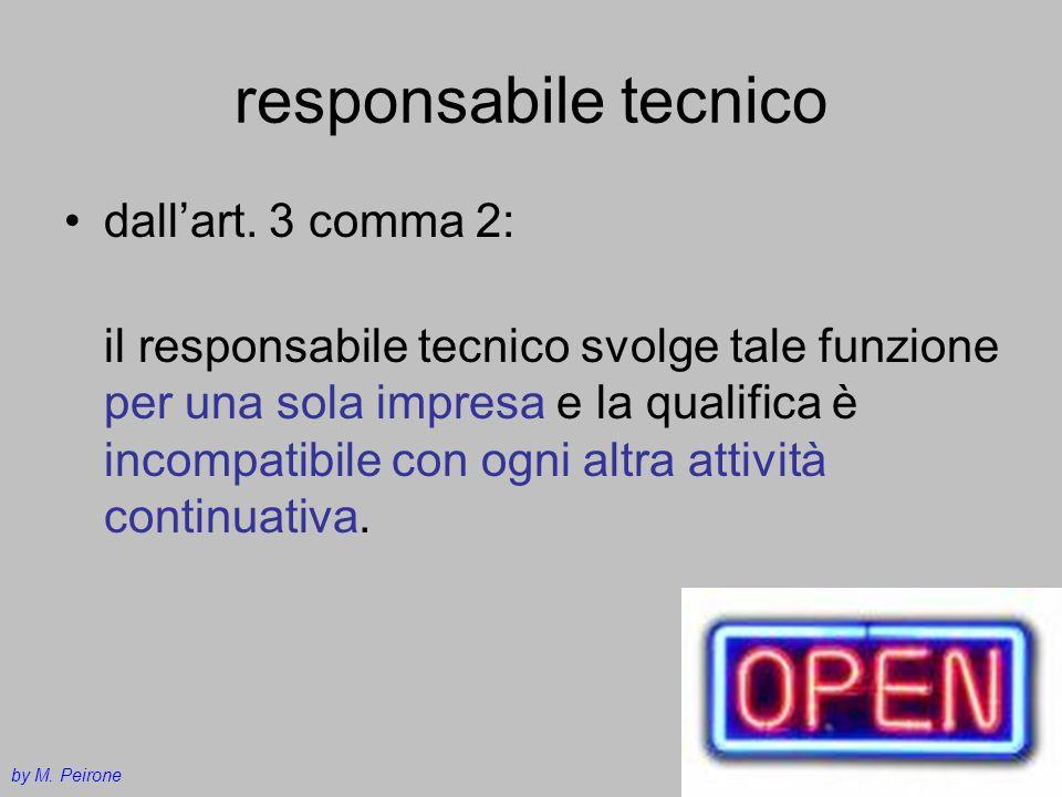 responsabile tecnico dallart. 3 comma 2: il responsabile tecnico svolge tale funzione per una sola impresa e la qualifica è incompatibile con ogni alt