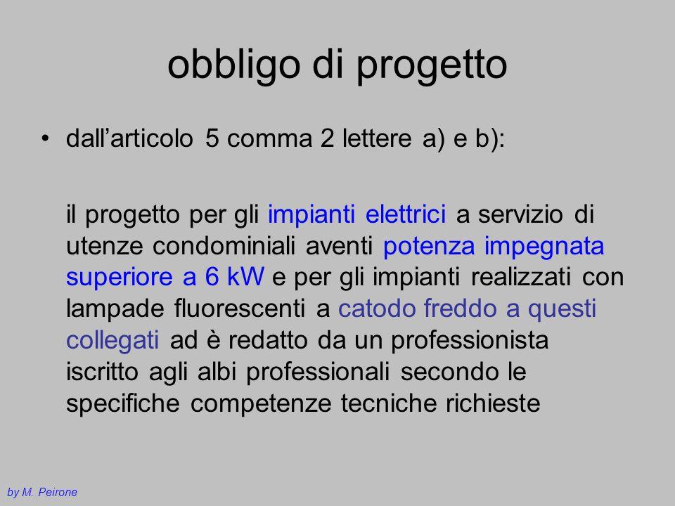 obbligo di progetto dallarticolo 5 comma 2 lettere a) e b): il progetto per gli impianti elettrici a servizio di utenze condominiali aventi potenza im