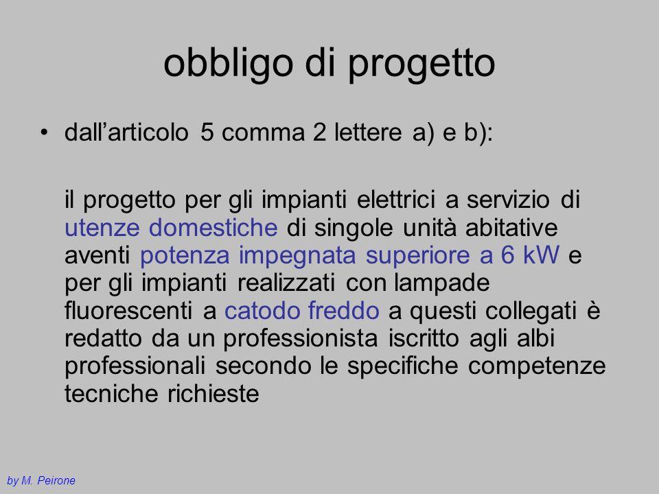 obbligo di progetto dallarticolo 5 comma 2 lettere a) e b): il progetto per gli impianti elettrici a servizio di utenze domestiche di singole unità ab