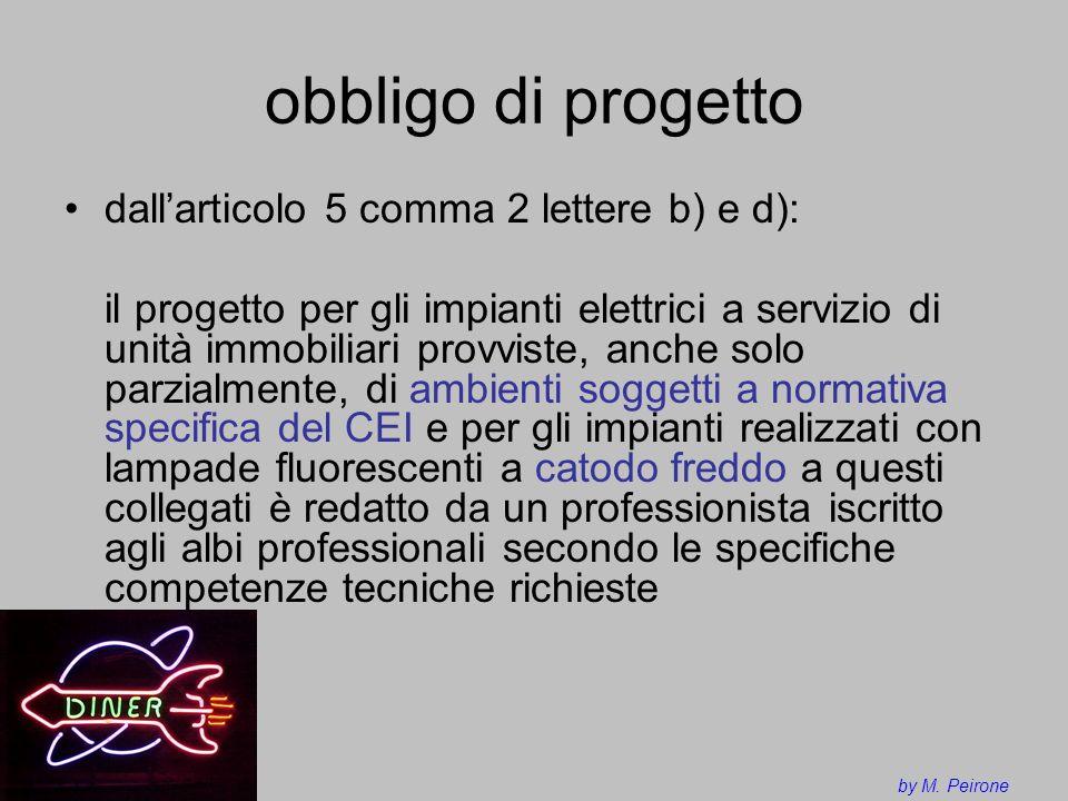 obbligo di progetto dallarticolo 5 comma 2 lettere b) e d): il progetto per gli impianti elettrici a servizio di unità immobiliari provviste, anche so