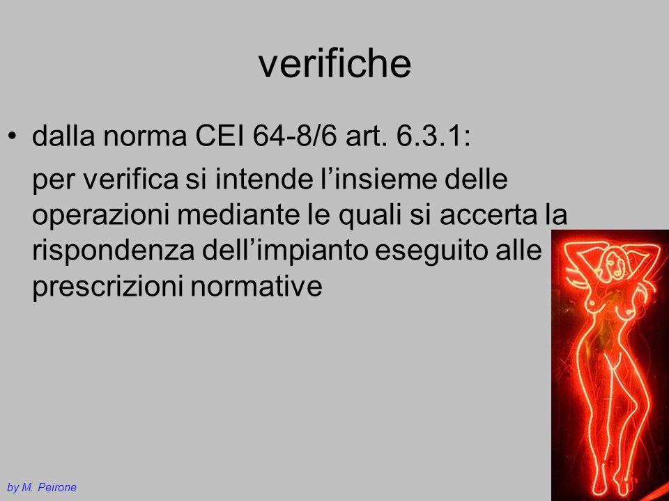 verifiche dalla norma CEI 64-8/6 art. 6.3.1: per verifica si intende linsieme delle operazioni mediante le quali si accerta la rispondenza dellimpiant