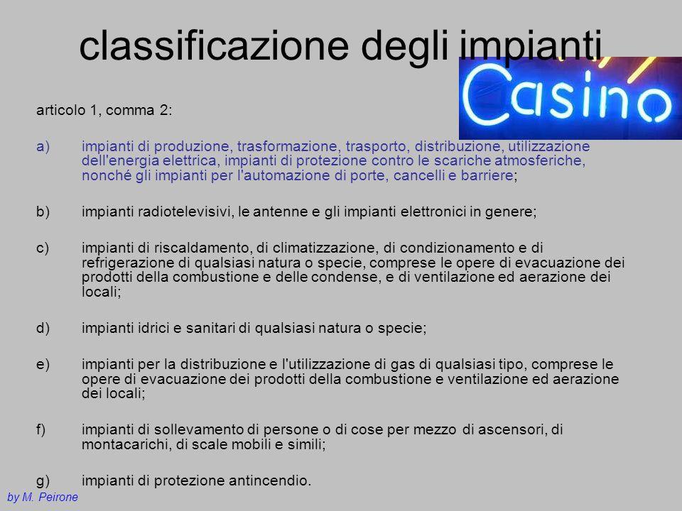 classificazione degli impianti articolo 1, comma 2: a)impianti di produzione, trasformazione, trasporto, distribuzione, utilizzazione dell'energia ele