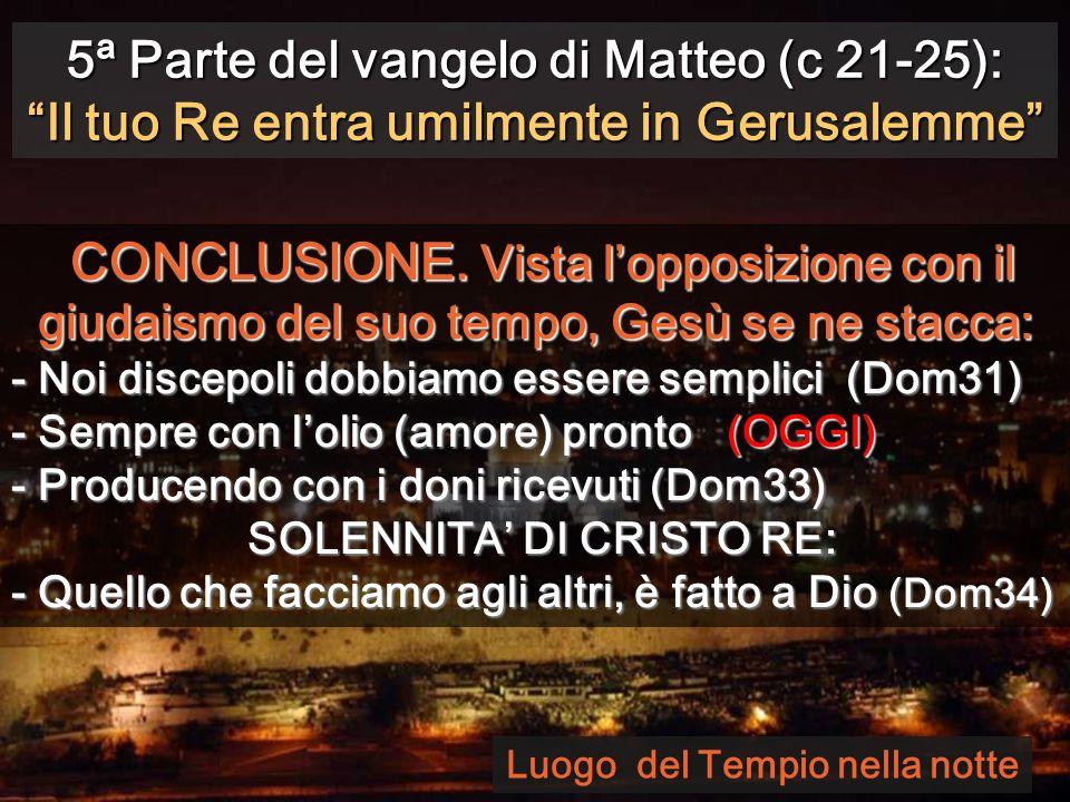 5ª Parte del vangelo di Matteo (c 21-25): Il tuo Re entra umilmente in Gerusalemme CONCLUSIONE.