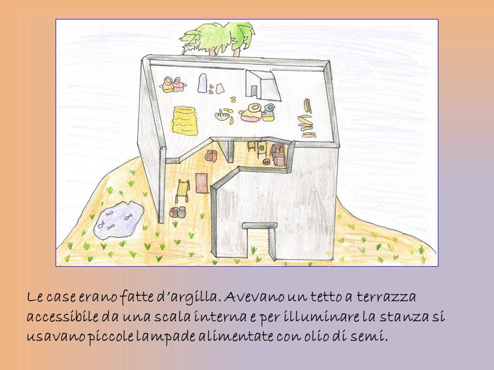 Le case erano fatte dargilla. Avevano un tetto a terrazza accessibile da una scala interna e per illuminare la stanza si usavano piccole lampade alime