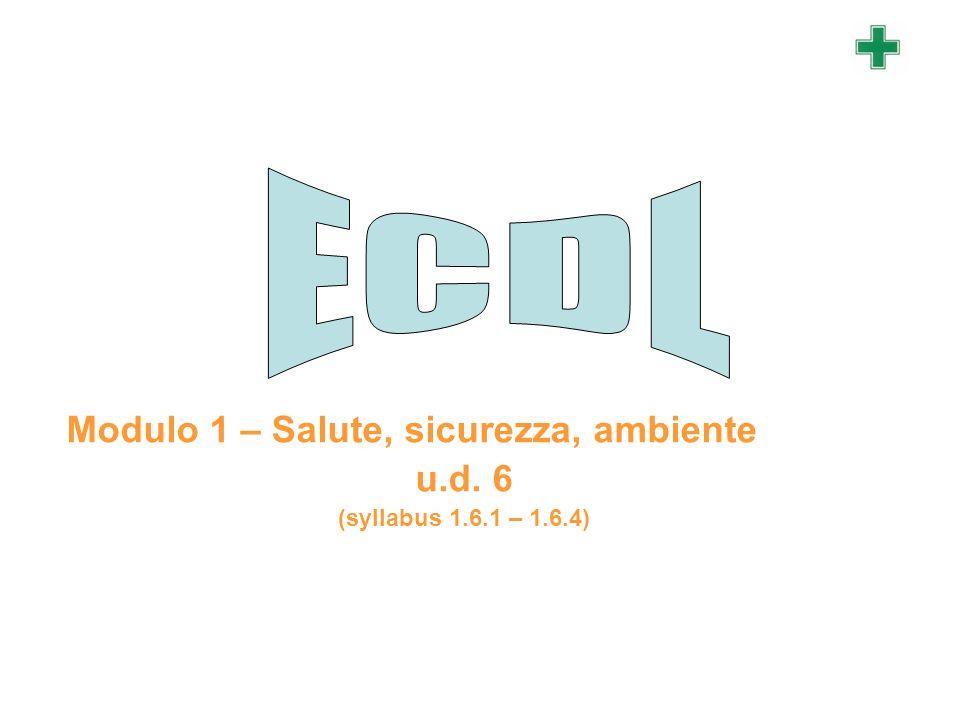 Modulo 1 – Salute, sicurezza, ambiente u.d. 6 (syllabus 1.6.1 – 1.6.4)