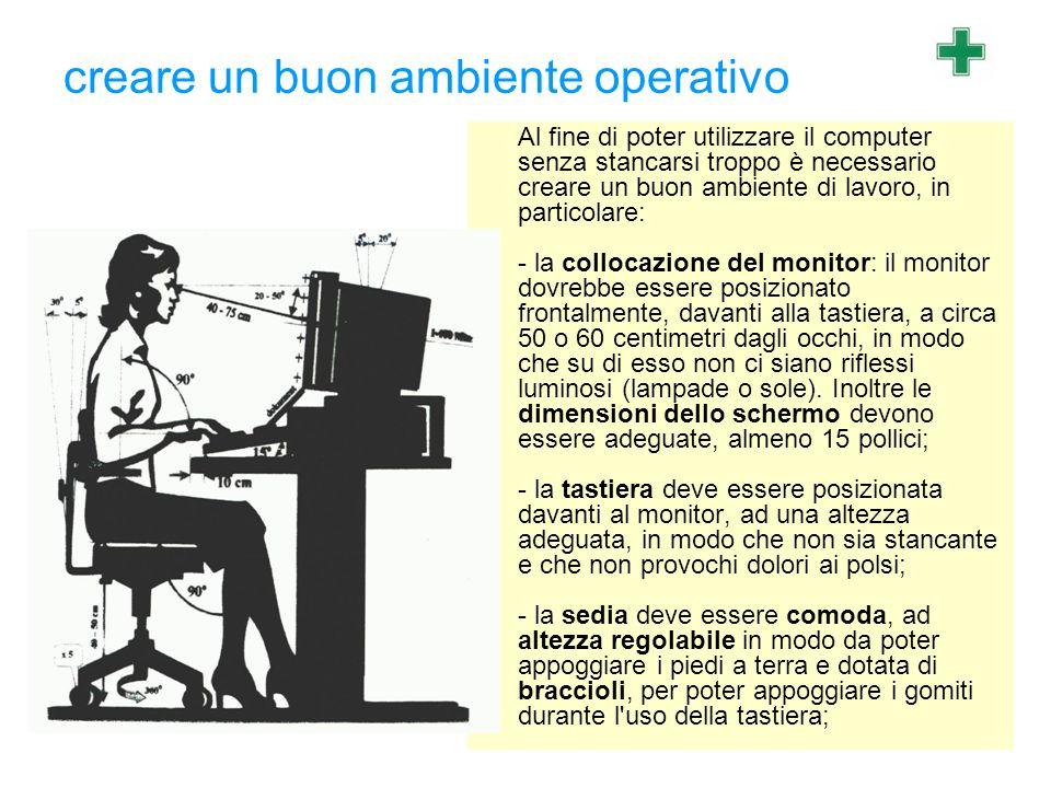 creare un buon ambiente operativo Al fine di poter utilizzare il computer senza stancarsi troppo è necessario creare un buon ambiente di lavoro, in pa