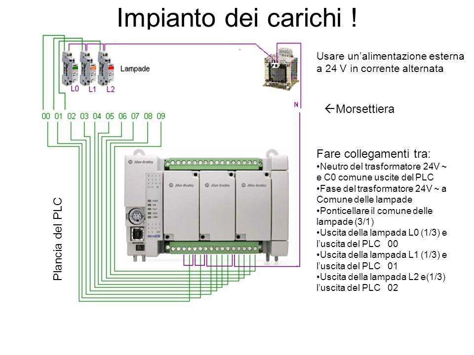 Impianto dei carichi ! Plancia del PLC Usare unalimentazione esterna a 24 V in corrente alternata Fare collegamenti tra: Neutro del trasformatore 24V
