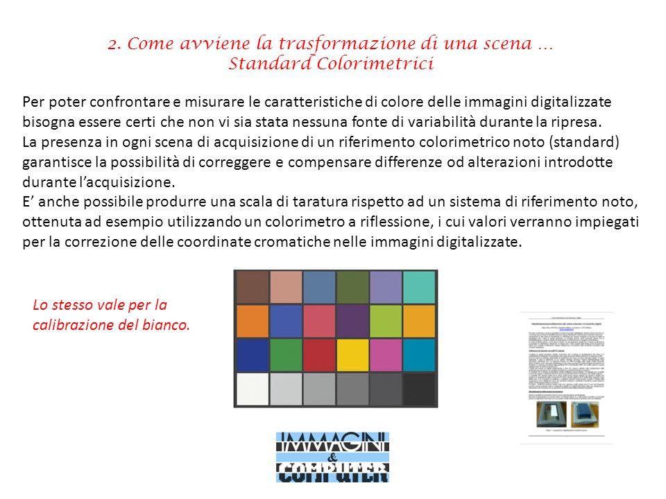 2. Come avviene la trasformazione di una scena … Standard Colorimetrici Per poter confrontare e misurare le caratteristiche di colore delle immagini d
