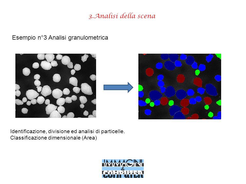 3.Analisi della scena Esempio n°3 Analisi granulometrica Identificazione, divisione ed analisi di particelle. Classificazione dimensionale (Area)