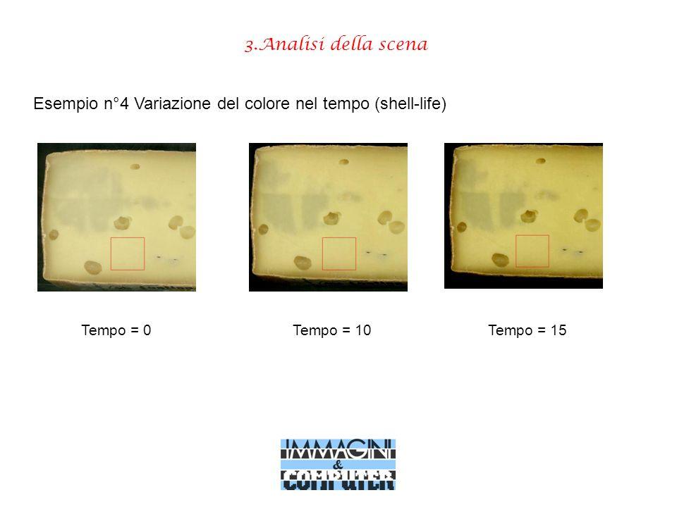 3.Analisi della scena Esempio n°4 Variazione del colore nel tempo (shell-life) Tempo = 0Tempo = 10Tempo = 15