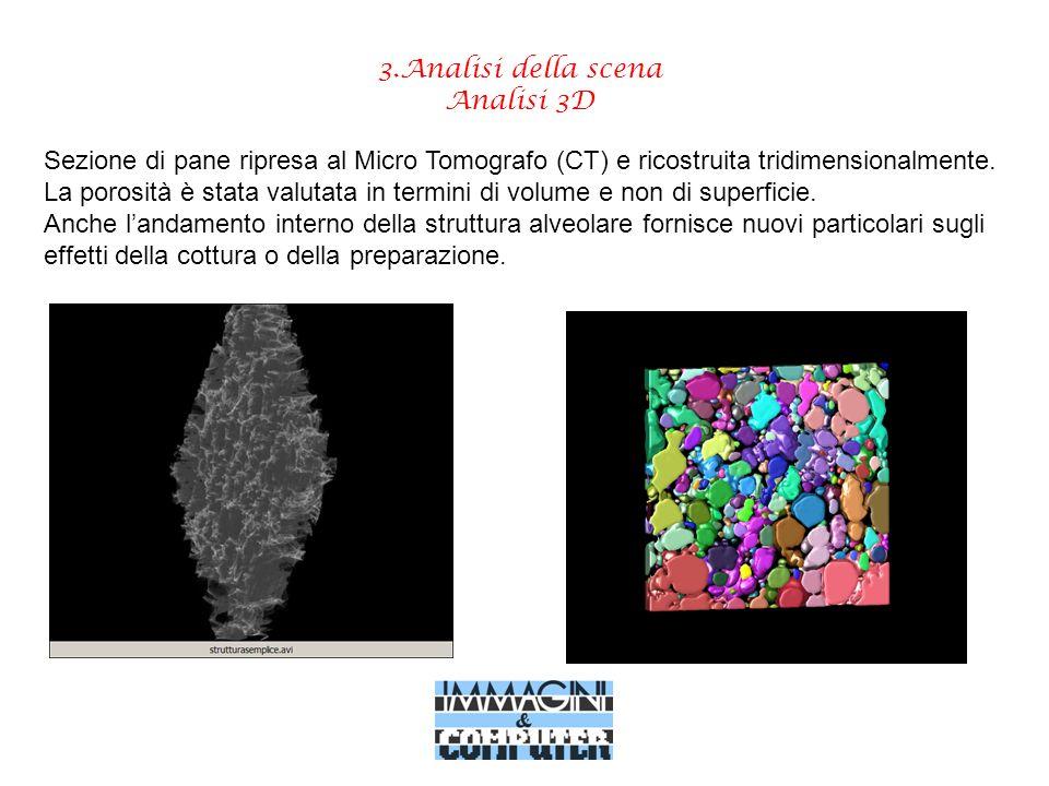 3.Analisi della scena Analisi 3D Sezione di pane ripresa al Micro Tomografo (CT) e ricostruita tridimensionalmente. La porosità è stata valutata in te