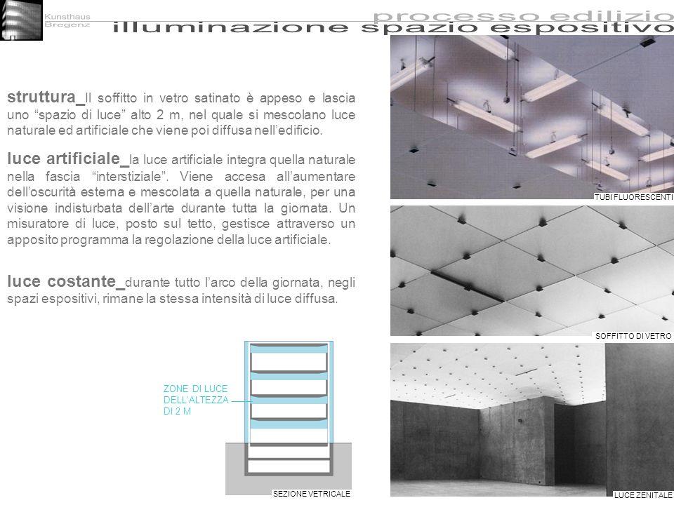 struttura_ Il soffitto in vetro satinato è appeso e lascia uno spazio di luce alto 2 m, nel quale si mescolano luce naturale ed artificiale che viene