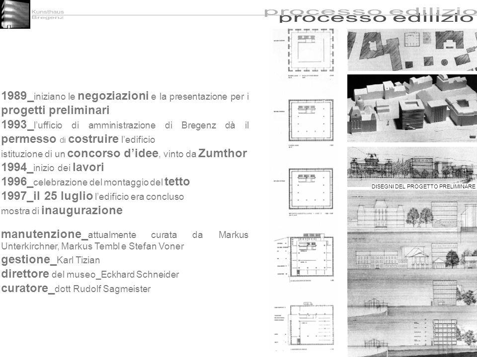 1989_ iniziano le negoziazioni e la presentazione per i progetti preliminari 1993_ lufficio di amministrazione di Bregenz dà il permesso di costruire
