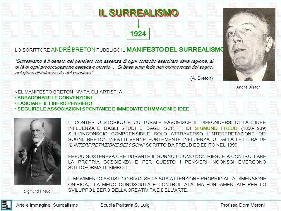 Arte e Immagine: SurrealismoScuola Paritaria S. LuigiProf.ssa Dora Meroni IL SURREALISMO 1924 MANIFESTO DEL SURREALISMO LO SCRITTORE ANDRÉ BRETON PUBB