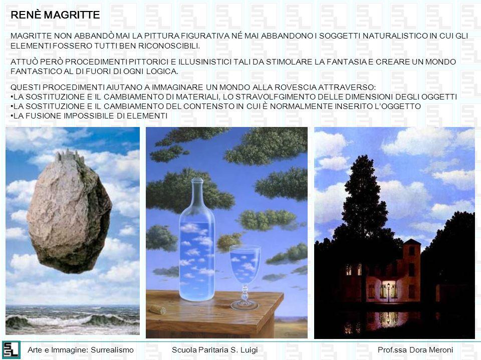 Arte e Immagine: SurrealismoScuola Paritaria S. LuigiProf.ssa Dora Meroni MAGRITTE NON ABBANDÒ MAI LA PITTURA FIGURATIVA NÉ MAI ABBANDONO I SOGGETTI N